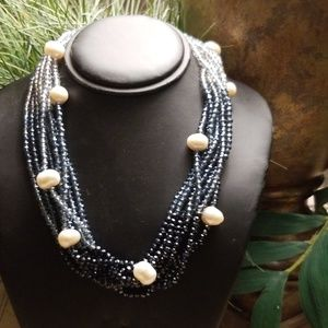 SAACHI Blue Crystal and Pearl Statement Necklace
